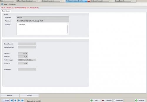 Customizing am Beispiel der Artikelstammdaten