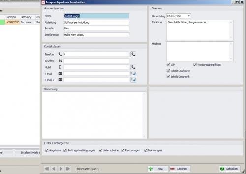 Kundenstammdaten -> Ansprechpartner bearbeiten