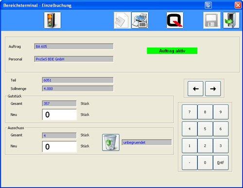 1. Produktbild Bereichsterminal: Rückmeldungen ins BDE-System