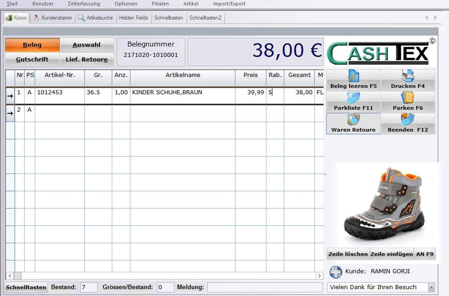 reputable site bc7c0 10884 CASHTEX Kassensystem für Schuhhandel GoBD/GDPdU konform ...