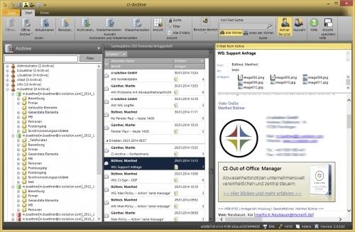 CI-Archive – Die E-Mail-Ansicht