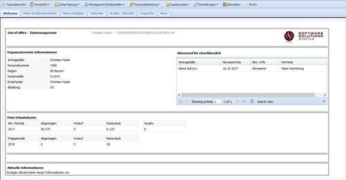 """7. Produktbild Zeitwirtschaft für Lotus Notes SAP HR """"Out of Office"""""""
