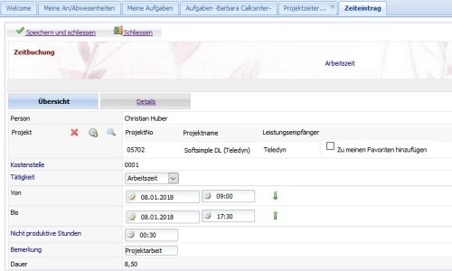 A02-Formular Projektzeiterfassung