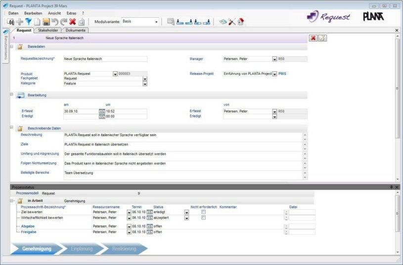 PLANTA Request: Request mit Prozessstatusanzeige