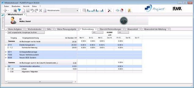 PLANTA Project: Mitarbeiterboard - einfache Stundenerfassung