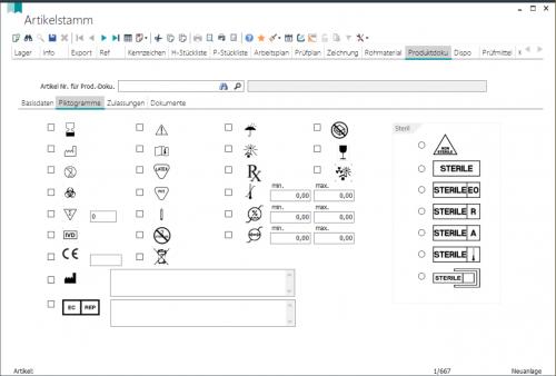Artikelstamm - Piktogramme