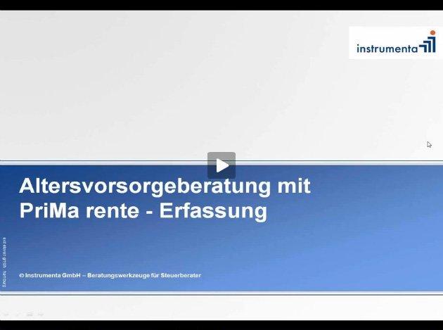 1. Produktvideo PriMa rente - – objektive Altersvorsorge-Checks vom Steuerberater