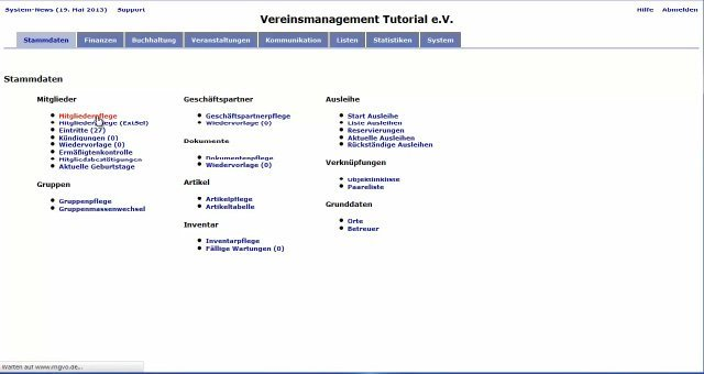 6. MGVO - Online Vereinsmanagementsystem - Beiträge mit MGVO einziehen