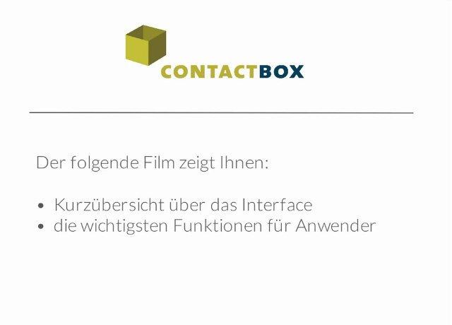 1. Produktvideo Contactbox - Kontaktmanagementsystem