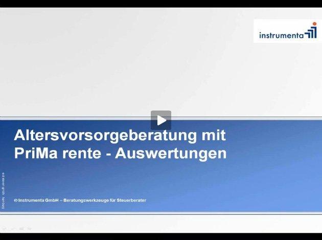 2. Produktvideo PriMa rente - – objektive Altersvorsorge-Checks vom Steuerberater
