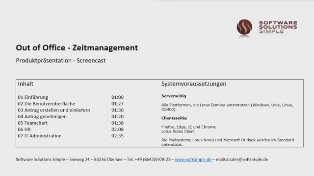 "1. Produktvideo Zeiterfassung für Lotus Notes ""Out of Office"""