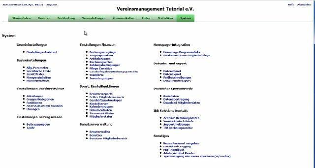 2. MGVO - Online Vereinsmanagementsystem - Systemparameter einstellen