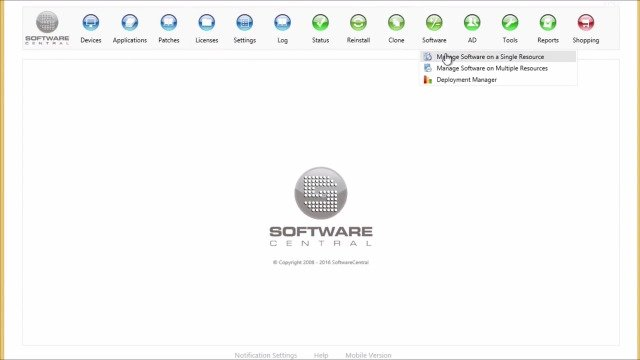 SoftwareCentral 2016 Manage Software