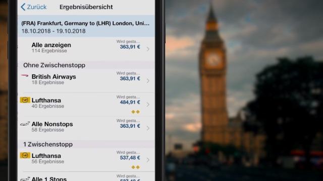 Flugbuchung mit der SAP Concur Mobile App