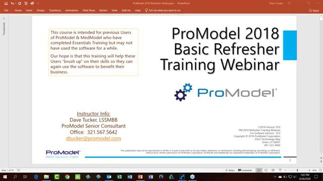 ProModel & MedModel Basic Trainng