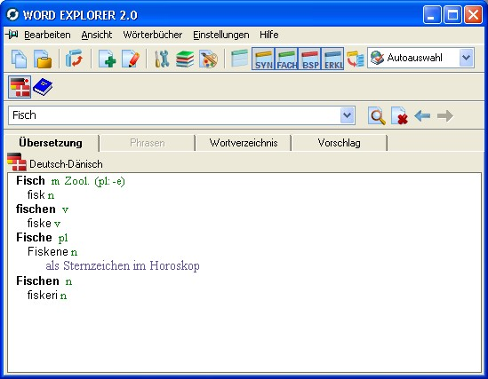 Word Explorer Pro Wörterbuch Dänisch-Deutsch, Deutsch-Dänisch